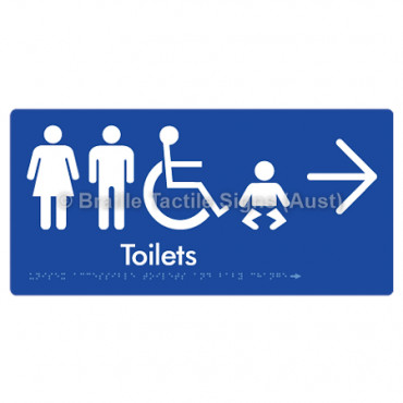 Unisex Accessible Toilets & Baby Change  w/ Large Arrow: R