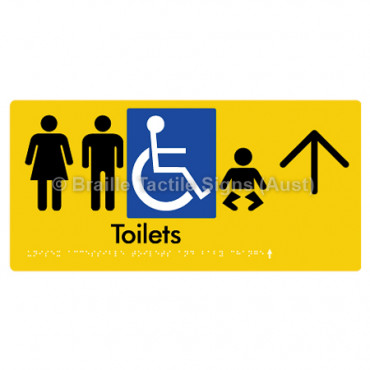 Unisex Accessible Toilets & Baby Change  w/ Large Arrow: U