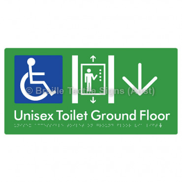 Unisex Accessible Toilet on Ground Floor Via Lift w/ Large Arrow: D
