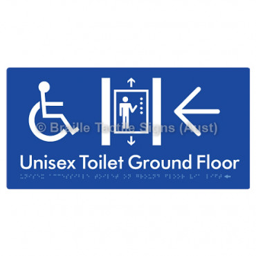 Unisex Accessible Toilet on Ground Floor Via Lift w/ Large Arrow: L