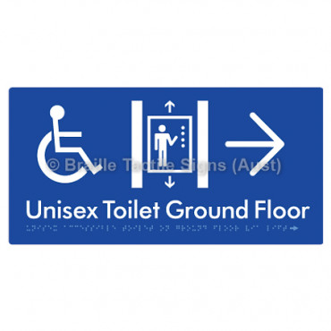 Unisex Accessible Toilet on Ground Floor Via Lift w/ Large Arrow: R