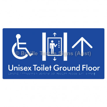 Unisex Accessible Toilet on Ground Floor Via Lift w/ Large Arrow: U