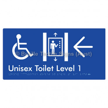Unisex Accessible Toilet on Level 1 Via Lift w/ Large Arrow: L