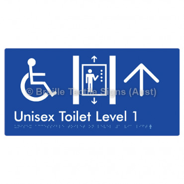 Unisex Accessible Toilet on Level 1 Via Lift w/ Large Arrow: U