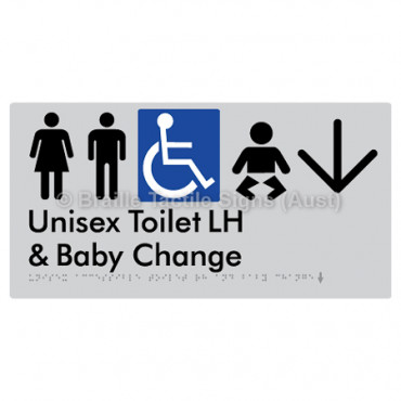 Unisex Accessible Toilet LH and Baby Change w/ Large Arrow: D