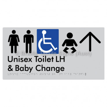 Unisex Accessible Toilet LH and Baby Change w/ Large Arrow: U