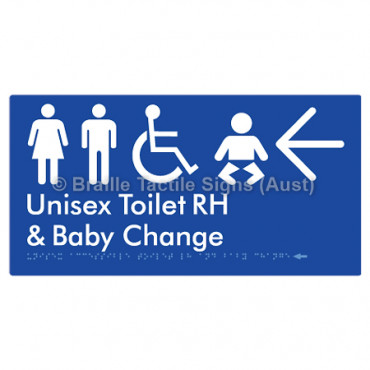 Unisex Accessible Toilet RH and Baby Change w/ Large Arrow: L