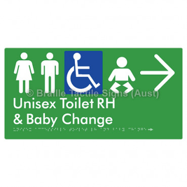 Unisex Accessible Toilet RH and Baby Change w/ Large Arrow: R