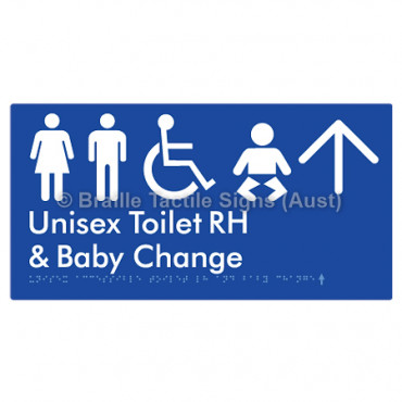 Unisex Accessible Toilet RH and Baby Change w/ Large Arrow: U