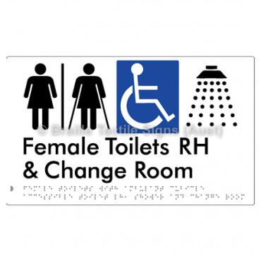 Female Toilets with Ambulant Cubicle Accessible Toilet RH, Shower and Change Room (Air Lock)