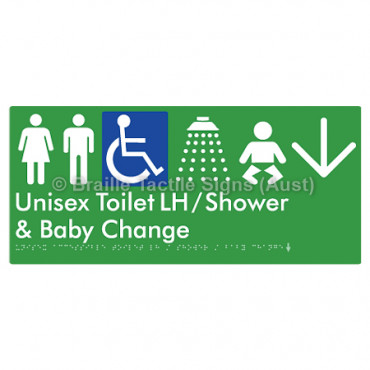 Unisex Accessible Toilet LH / Shower / Baby Change w/ Large Arrow: D