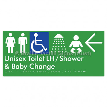 Unisex Accessible Toilet LH / Shower / Baby Change w/ Large Arrow: L