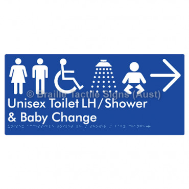 Unisex Accessible Toilet LH / Shower / Baby Change w/ Large Arrow: R