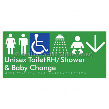 Unisex Accessible Toilet RH / Shower / Baby Change w/ Large Arrow: D