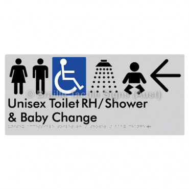 Unisex Accessible Toilet RH / Shower / Baby Change w/ Large Arrow: L