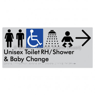 Unisex Accessible Toilet RH / Shower / Baby Change w/ Large Arrow: R