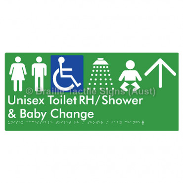 Unisex Accessible Toilet RH / Shower / Baby Change w/ Large Arrow: U