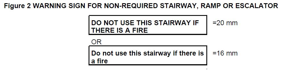 Figure 2 WARNING SIGN FOR NON-REQUIRED STAIRWAY, RAMP OR ESCALATOR